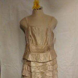 Evening Formal Gown Jessica Howard Gold with Beads